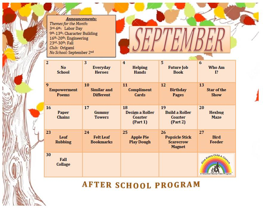 September 2019 After School Program calendar photo